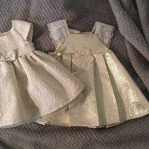 2 gold & white baby girl dresses